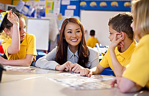 teacher with primary schoolchildren